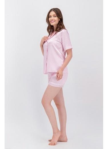 Arnetta Arnetta Basic Pembe Çizgili Kadın Saten Şort Gömlek Pijama Pembe